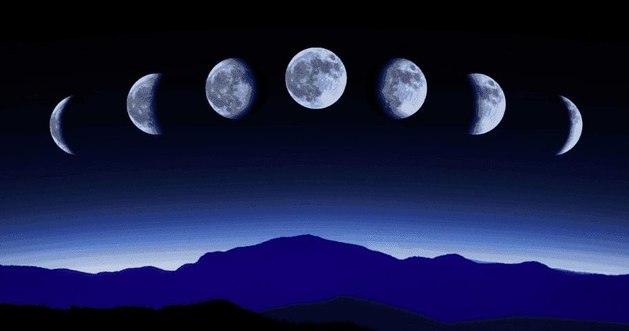 1, 2, 3 и 4-я четверти фазы растущей и убывающей Луны
